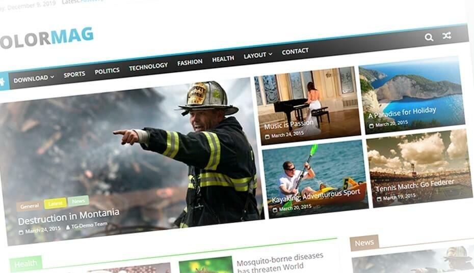 Colormag - популярный бесплатный новостной шаблон WordPress