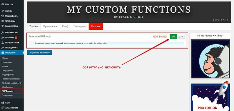 Плагин My Custom Functions